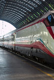 White Train in Milan Central Railway Station, Italy Royalty Free Stock Photography