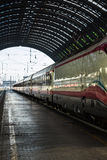 White Train in Milan Central Railway Station, Italy Royalty Free Stock Photos