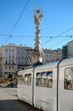 White Tram in Linz. Tram on main sqaire in Linz, Austria Stock Image