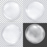 White transparent glass sphere on a checkered background. stock illustration