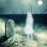 White transparent woman ghost on cemetery. Young white transparent woman ghost look on her grave gravestone on old cemetery. Midnight with full moon vector illustration