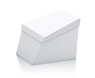 White trapezoid box from close up left view. Royalty Free Stock Photos