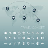 White travel icon set and world map. Vector Stock Photos