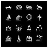 White travel icons Royalty Free Stock Photo