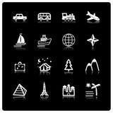 White travel icons. On black background Royalty Free Stock Photo