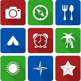 White Travel Icons with Long Shadows Vol 2 Stock Image