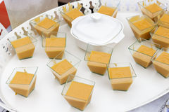 White tray of canapes of Andalusian salmorejo Royalty Free Stock Photos