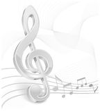 White treble clef on white Stock Photos