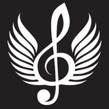 White treble clef with wings. Vector illustration Royalty Free Stock Images