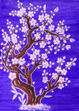 White tree in blossom, painting. White tree in blossom, in traditions of old Chinese art, painting, gouache on watercolor background stock photos