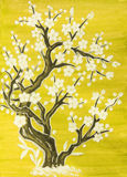 White tree in blossom, painting Stock Photo