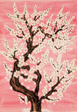 White tree in blossom, painting Stock Images