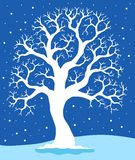 White tree on blue background 1 Royalty Free Stock Images