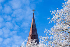 White tree and church in winter Royalty Free Stock Photography