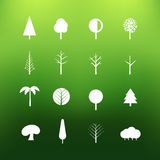 White tree icons clip-art on color background Stock Photography