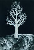 White tree at night. From and original encaustic wax painting by Carol Trammel Stock Image