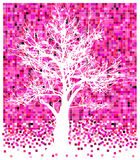 White tree on pinky squares Stock Photo