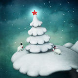 White tree and rabbits. Stock Photography
