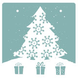 White tree with snowflakes Royalty Free Stock Image