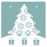 White tree with snowflakes Royalty Free Stock Image