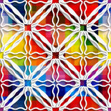 White triangle ornament on rainbow seamless pattern Stock Photos