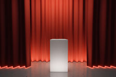 White tribune on stage with red scenes Royalty Free Stock Photos