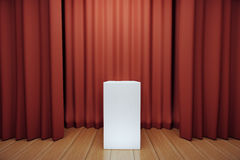 White tribune on stage with red scenes Royalty Free Stock Images