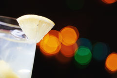 White tropical alcohol cocktail or lemonade with decoration. Royalty Free Stock Photography