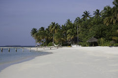 White tropical beach, Mirihi, Maldives royalty free stock images
