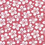 White Tropical Exotic Foliage, Hibiscus Floral Vector Seamless Pattern. Lush Tropical Blooms on Red Background royalty free illustration