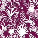 White tropical leaves Vector seamless pattern Exotic monotone fo. Rest leaves on dark purple Royalty Free Stock Photos