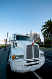 White Truck. Class 8 Kenworth White Truck at Embarcadero San Franciso royalty free stock photos