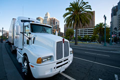 White Truck. Class 8 Kenworth White Truck at Embarcadero San Franciso Royalty Free Stock Photo