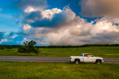 White truck along road in Big Meadows, Shenandoah National Park Royalty Free Stock Photos