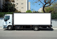 White Truck with Blank panel Stock Photo