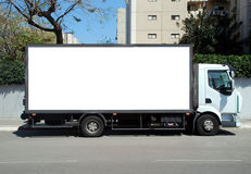 White Truck with Blank panel Royalty Free Stock Photos