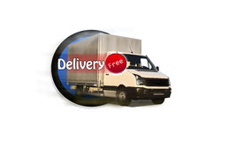 Free Delivery. White Truck - Caption Free Delivery Royalty Free Stock Photo