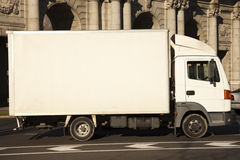 White truck in the city Royalty Free Stock Photography