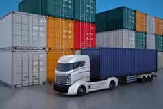 White truck in container port. 3D rendering image Royalty Free Stock Photos