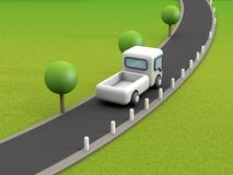 White truck on country road with trees and green grass field cartoon style 3d render stock illustration