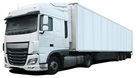 White truck DAF XF Euro 6. Stock Images