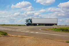 White truck goes on highway Royalty Free Stock Photography