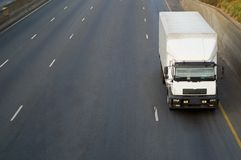 White truck on highway Stock Image