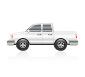White Truck. Illustration of a white pickup truck with reflection Stock Photography