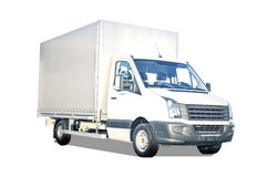 White Truck Isolated. Plain white delivery truck with blank sides and blank cab, ready for custom text or logos Stock Photo