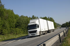 White truck on the move Stock Image
