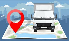 White truck over folded flat map and red pin. Cityscape background. Vector illustration. White truck over folded flat map and red pin. Cityscape background vector illustration