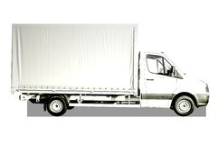 White Truck. Plain white delivery truck with blank sides and blank cab, ready for custom text or logos Stock Image