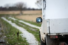 White truck on remote rural dirt road. Moody autumn morning. royalty free stock photos