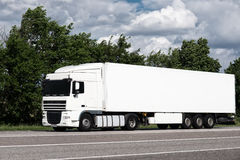 White truck on road. Cargo transportation Royalty Free Stock Photos